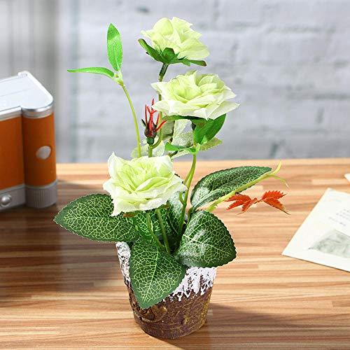 Flor Artificial Exterior Mini Maceta Plantas Artificiales Bonsai Rosa (Incluida La Maceta) -Ver