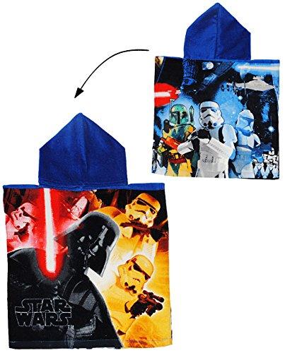 alles-meine.de GmbH Badeponcho -  Star Wars  - 50 cm * 105 cm - 3 bis 6 Jahre Poncho - mit Kapuze - Handtuch Strandtuch Baumwolle - Starwars Darth Vader Skywalker Clonewars - J..