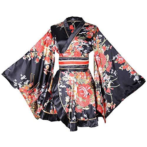Sexy Short Kimono Costume Adult Women's Japanese Geisha Yukata Prints Gown Blossom Fancy Dress with OBI Belt (Black)