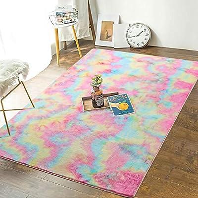 Andecor Soft Girls Room Rugs - 3 x 5 Feet Fluffy Rainbow Area Rug for Kids Baby Room Bedroom Nursery Home Decor Large Floor Carpet, Rainbow
