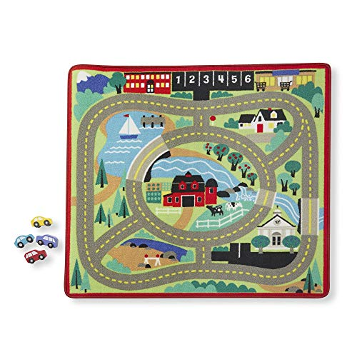 "Melissa & Doug Round the Town Road Rug & Car Set, Cars & Trucks, Safe for All Floors, 4 Wooden Cars, 36"" W x 39"