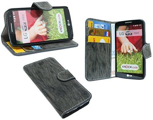ENERGMiX Buchtasche kompatibel mit LG G2 Mini D620R Hülle Case Tasche Wallet BookStyle mit Standfunktion Anthrazit