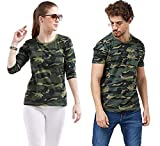 COUPLESTUFF.IN Couple Matching Camouflage Cotton Army Military Print 3/4th Sleeve Women T-Shirt