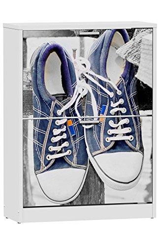 Abitti Zapatero de 2 Puertas Blanco 82x60cm, con serigrafia Sneakers Azules