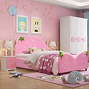 Costzon Toddler Bed, Children Upholstered Twin Bed, Kids Bed with Soft Texture & Adjustable Non-Slip Feet for Kids Boys & Girls, Children Classic Sleeping Bedroom Furniture