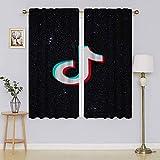 T-ik-Tok - Cortinas opacas con logo de póster para ventana, filtrado de luz para mantener las cortinas cálidas, cortinas para puertas correderas para sala de estar de 42 x 54 pulgadas