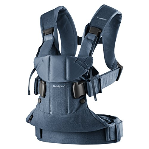 BabyBjörn Baby Carrier One, Cotton Mix, Classic Denim/Midnight Blue