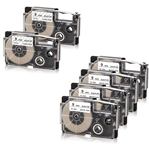 """Absonic 6 Pack Compatible Label Tape Replacement for XR-9WE XR-9WE2S XR-9X XR-9X2S 9mm Label Cartridge for Casio KL-120 KL-60 KL-100 KL-750 KL-780 KL820 Label Maker, 3/8"""" x 26', Black on White/Clear"""