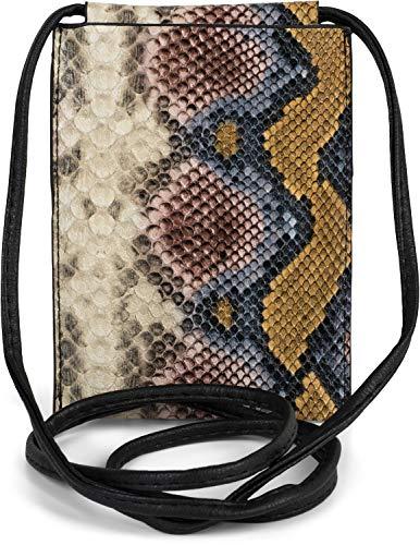 styleBREAKER Damen Handy Umhängetasche in Schlangen Optik, Schultertasche, Handy-Tragetasche, Mini Bag 02012306, Farbe:Mehrfarbig