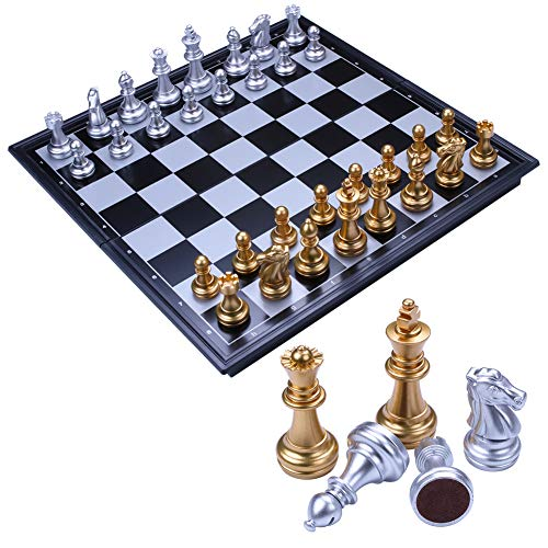 Toudorp チェス セット マグネット 折りたたみ 国際チェス ボードゲーム 教育 脳トレーニング 収納便利 学生 大人向け 25*25(S)