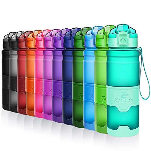 ZOUNICH Trinkflasche Sport BPA frei Kunststoff Sporttrinkflaschen für Kinder Schule, Joggen, Fahrrad, öffnen mit Einer Hand Trinkflaschen Filter, Smaragd, 14oz/400ml
