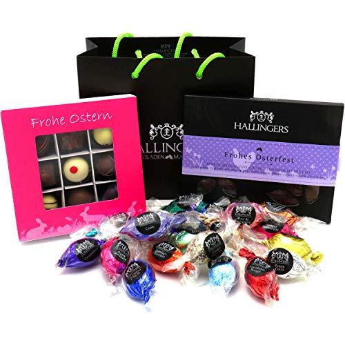 Hallingers Oster-Geschenk-Set 1 Schokolade, 9er Trüffel und 20 Ostereiern für Ostern (519g) - Easter Bag Pink Purple (Genusstasche) - zu Ostern StayHome