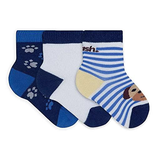Kit 3 Pares Meia Cas Cano Médio Bebê C/Lycra, Mash, Menino, Azul Marinho/Azul Marinho/Azul Marinho, 16-21
