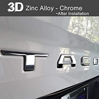 Aukee Tailgate Letters for Toyota Tacoma 2016 2017 2018 2019 Emblem Inserts 3D Raised Metal (Chrome)
