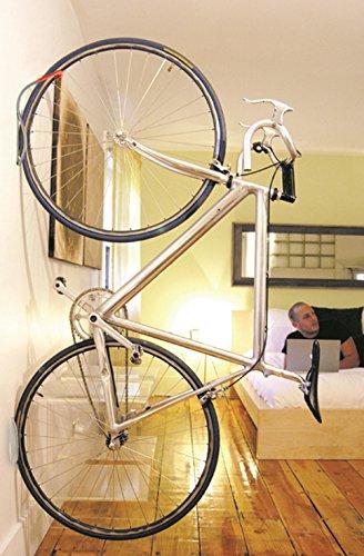 Delta Cycle Leonardo Da Vinci Single Bike Storage Rack Hook Hanger with Tire Tray for Vertical Indoor Garage ( color may vary )