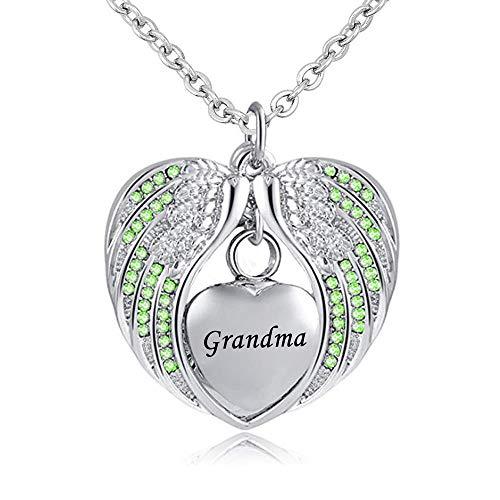 UGBJ Cremación Collar Joyas de entierro de Incendios con alas de ángel Collar de urna para Ceniza Piedra de Nacimiento Pendiente de Colgante Corazón Memorial Souvenir Granny