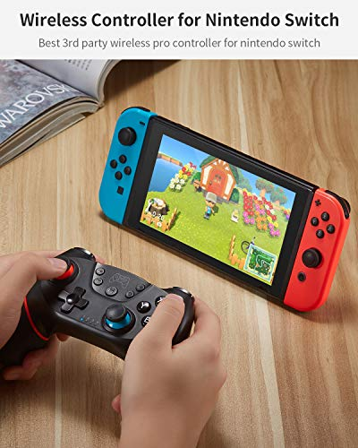 Switch Controller, Wireless Pro Controller for Switch Console Remote Gamepad with Joystick, Turbo Gyro Ergonomic Non-Slip, Red & Blue