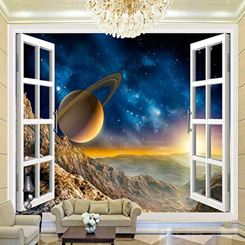 Fotomural - Planeta Universo Fuera De La Ventana - Papel Pintado Mural Fotomurales Murales Pared Papel Para Pared Foto 3D Mural Pared Barato Decorativo, (W450 X H350Cm)
