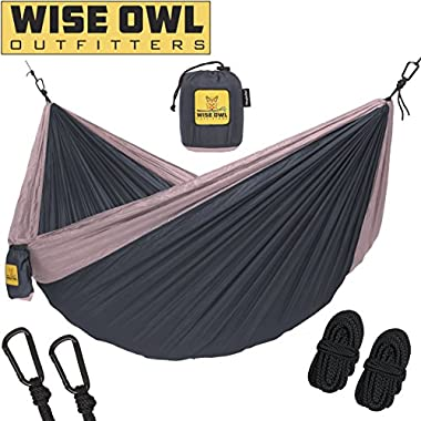 Wise Owl Outfitters Hammock for Camping Single & Double Hammocks - Top Rated Best Quality Gear For The Outdoors Backpacking Survival or Travel - Portable Lightweight Parachute Nylon SO Charcoal Rose