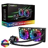 GAMEMAX Ice Chill 240 Nero Sistema di Raffreddamento Radiatore da 240mm Dissipatore a Liquido 2 Ventole RGB Rainbow Addressable 5V ADD RGB 3-Pin Compatibile Intel 1150 1151 1155 1366 2066 AMD AM4 AM3