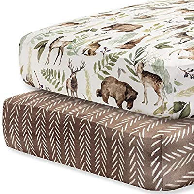 Pobibaby - 2 Pack Premium Fitted Baby Boy Crib Sheets for Standard Crib Mattress - Ultra-Soft Cotton Blend, Safe and Snug, and Stylish Woodland Crib Sheet (Wildlife) from Pobi Baby Inc.