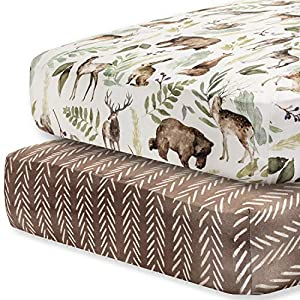 crib bedding and baby bedding pobibaby - 2 pack premium fitted baby boy crib sheets for standard crib mattress - ultra-soft cotton blend, safe and snug, and stylish woodland crib sheet (wildlife)