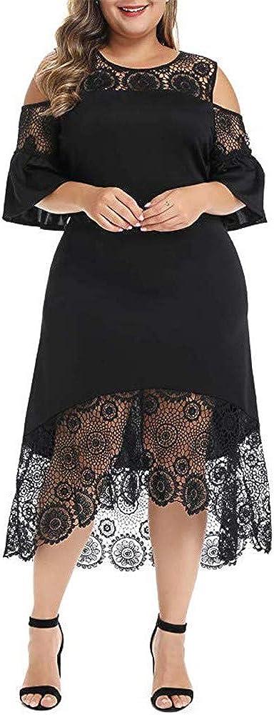 BeneGreat Women's Plus Size Cold Shoulder Lace Patchwork Flare Sleeve Cocktail Party Midi Dress