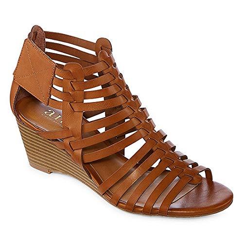 a.n.a. Womens Meadows Cognac Wedge Sandal Size 8
