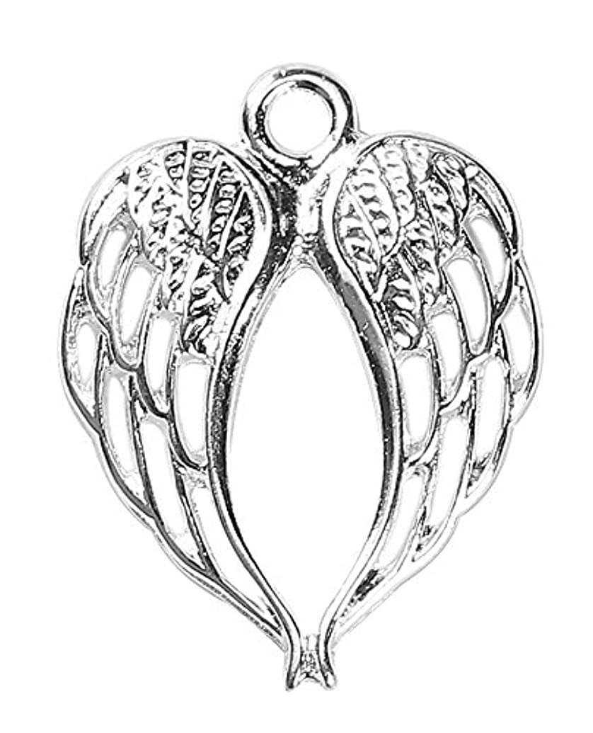 Angel Wings Charms by JGFinds, 30 Pack, Silver Tone 7/8 inch