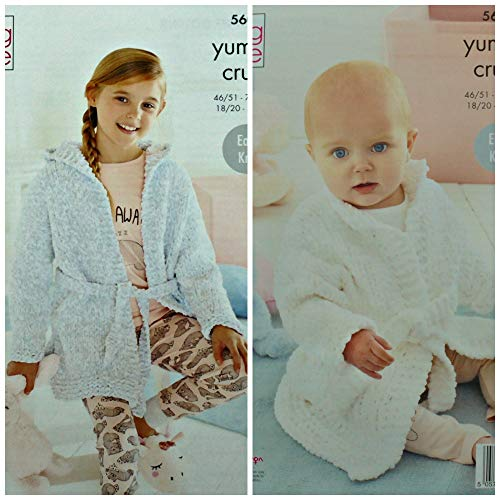 Koning Cole 5602 Breien Patroon Baby & Kinderen Dressing Gowns in Yummy Crush Chunky