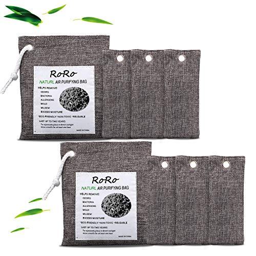 rongrong 8 Stück Natürliche Bambus-Aktivkohle-Luftreinigungs-Beutel, Schuh-Deodorierer und Geruchsabsorber für Schränke, Kleiderschrank und Schubladen, Auto-Lufterfrischerbeutel (200 g x 2 + 75 g x 6)