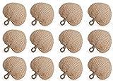 Koyal Wholesale Natural Raffia Hand Fans, 12-Pack Palm Leaf Hand Fans, Buri Fans, Handmade Raffia Fans, Wedding Favor Fans, Favor for Wedding, Fan Programs Wedding