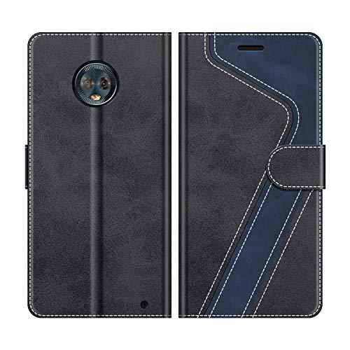 MOBESV Handyhülle für Motorola Moto G6 Plus Hülle Leder, Motorola Moto G6 Plus Klapphülle Handytasche Case für Motorola Moto G6 Plus Handy Hüllen, Schwarz