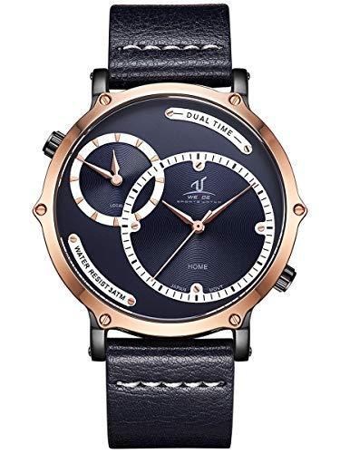 Alienwork Reloj Hombre Relojes Piel de Vaca Azul Analógicos Cuarzo Oro Rosa Impermeable XXL Oversized