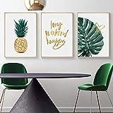 Gold Ananas Tropische Schildkröte Blatt Moderne Leinwand