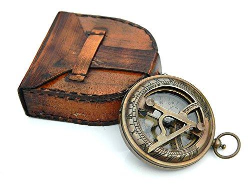 Roorkee Instruments (INDIA) Sonnenuhr Kompass mit Lederetui Druckknopf Sonnenuhr