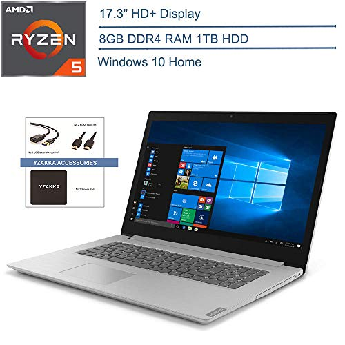 """2020 Lenovo IdeaPad L340 17.3"""" HD+ Laptop Computer, AMD Ryzen 5 3500U Quad-Core (Beats I7-7500U), 8GB DDR4 RAM, 1TB HDD, DVDRW, USB-C, Gray, Windows 10 + YZAKKA Accessories"""