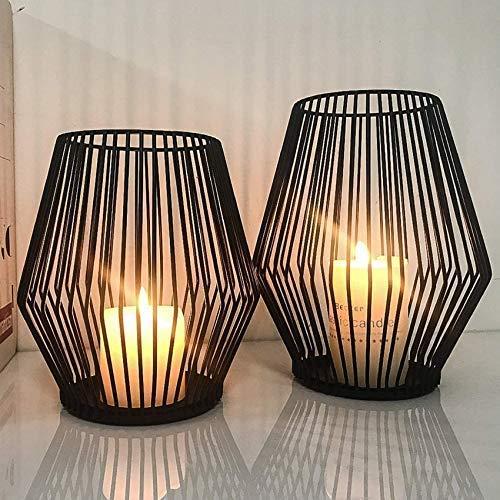 Set di 2 candelabri ovali, portacandele in metallo, decorazione per soggiorno, tavolo e candele, stile vintage, decorazione in metallo nero (D)