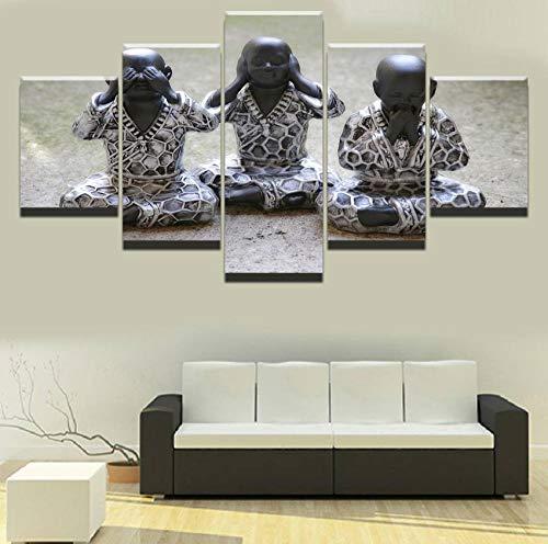 Cuadros de Decoracion de interiores Impresión de estatua de Buda Arte de pared para el hogar 5 paneles Tres pequeños monjes Decoracion de pared budista Pintura Lienzo Poster de sala de estar Sin marco