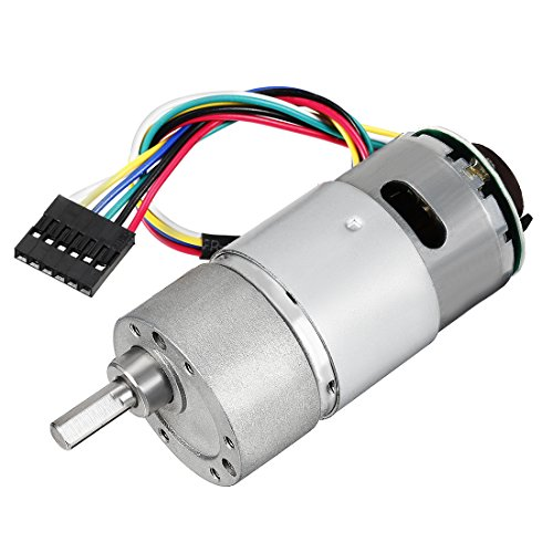 sourcing map 18.8:1 Gearmotor with Encoder DC 12V 319RPM Encoder Gear Motor 37Dx71L mm 319Rpm 12V