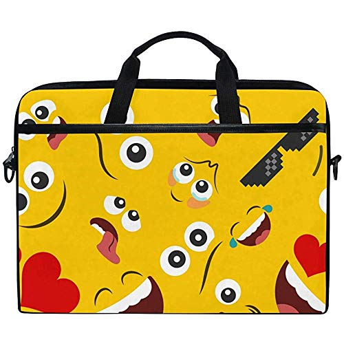 Laptop Sleeve Case,Smile Face Emoji Emoticon Briefcase Messenger Notebook Computer Bag With Shoulder Strap Handle,14-14.5 Inch