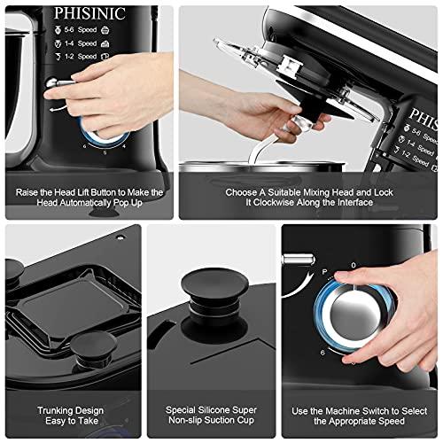 PHISINIC Küchenmaschine Knetmaschine 1500W Teigmaschine Rührmaschine mit 5,5 L Edelstahl Schüssel Geräuscharme Teigknetmaschine inkl 3-Teiligem Patisserie-Set und Spritzschutz-Schwarz - 4