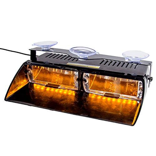 Discoball 16 LED Baliza de emergencia Advertencia de peligro Parabrisas LED Luz estroboscópica para 12V Vehículo Vehículo SUV Interior Roof Dash Parabrisas con ventosas (ámbar)