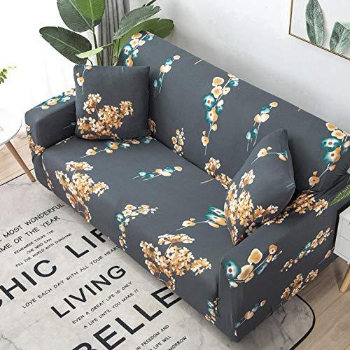 Funda Elástica para Sofá Cubierta del sofá Funda de sofá Funda elástica Protectora para sofá Material de poliéster Floral Dorado Viene con 3 Fundas de Almohada