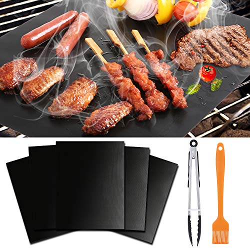 WISDOMWELL BBQ Grill Mat Set of 5 Non Stick Teflon Barbecue Baking Mats for Charcoal, Gas or Electric Grill – Heat Resistant, Reusable and Easy to Clean,Free 12″ BBQ Tongs and Silicone Brush