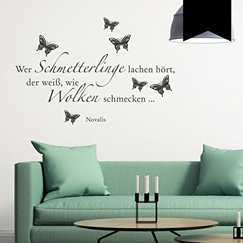 WANDKINGS Wandtattoo Wer Schmetterlinge lachen hört, der weiß, wie Wolken schmecken … (Novalis) 100 x 68 cm schwarz - erhältlich in 33 Farben