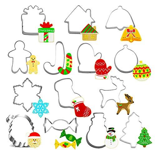 J TOHLO Juego De Moldes para Galletas De Navidad De 14 Uds, Molde para Galletas De Acero Inoxidable para Fiesta De Navidad, DecoracióN para Pasteles Y Galletas(Navidad)
