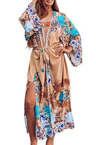 AiJump Vestido Bohemia de Playa Kaftan Kimono Pareos Cover Ups para Mujer