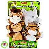 Hand Puppets for Kids, Set of 4 Plush Safari Animals Hand Puppet Toys for Boys and Girls, A Giraffe, Elephant, Tiger, Monkey, Perfect for Storytelling, Teaching, Preschool, Role-Play