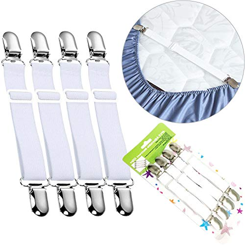 Verstellbare Elastische Betttuchspanner Bettlakenspanner Bügeltischspanner Weiß,4 Stück